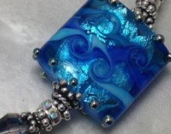 Bright Blue Shimmer Sterling Silver Bracelet