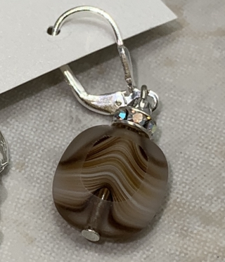 Brown Striated Ovals Glass Earrings-