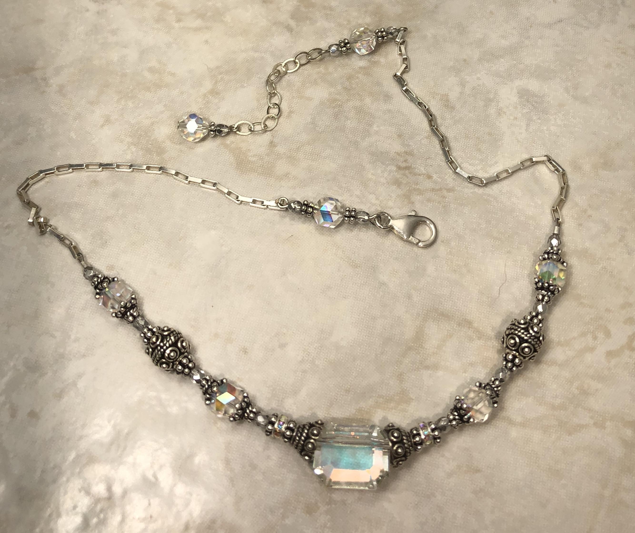 891e293156f33 Aurora Borealis Angles Vintage Swarovski Crystal Necklace by Sue Shefts  Designs