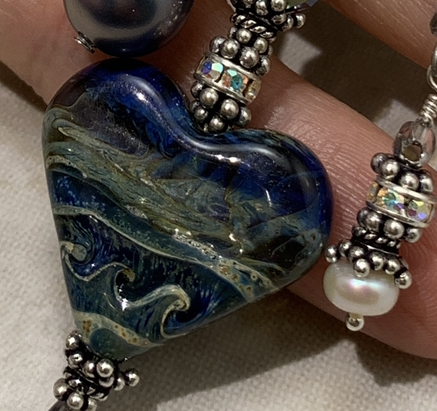 Blue Waves of Love Artisan Glass Necklace-
