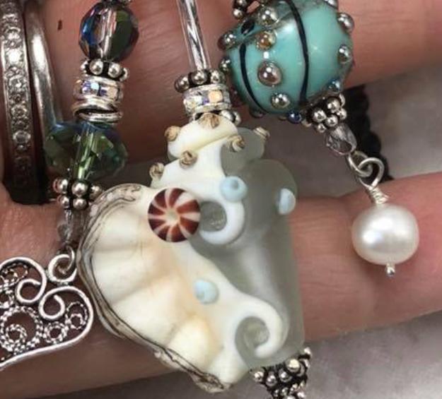 Beachy Sand and Sea TRIOS Artisan Glass Necklace-