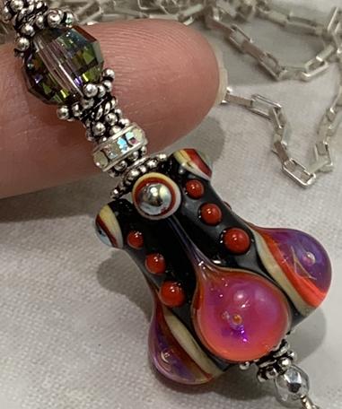 Hot Pink & Jet Deco Long Lariat Necklace-