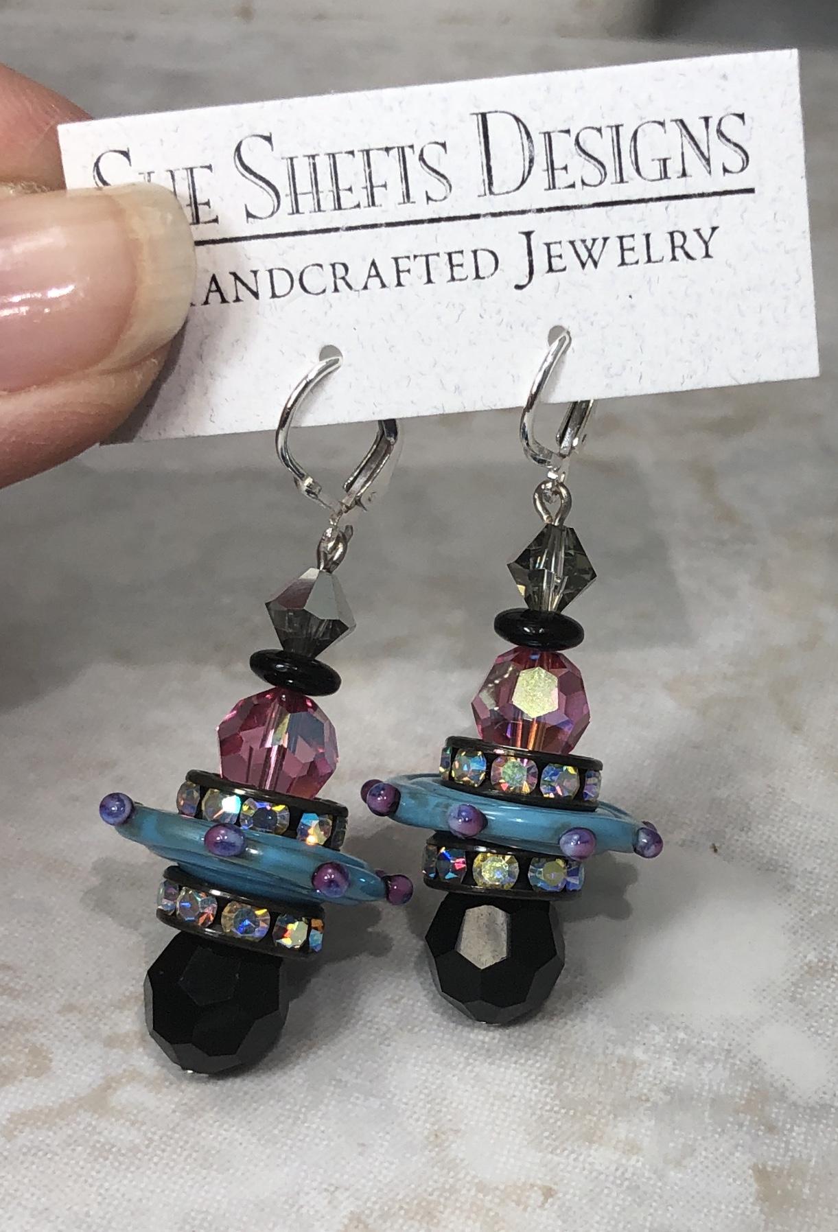 Art Deco Flights of Fancy Artisan Earrings--Pink & Blue-