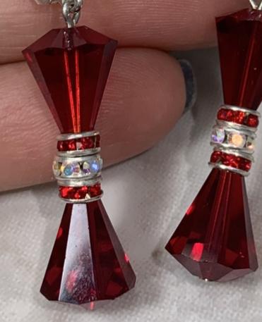 Garnet Vintage Crystal Sparkle Earrings-