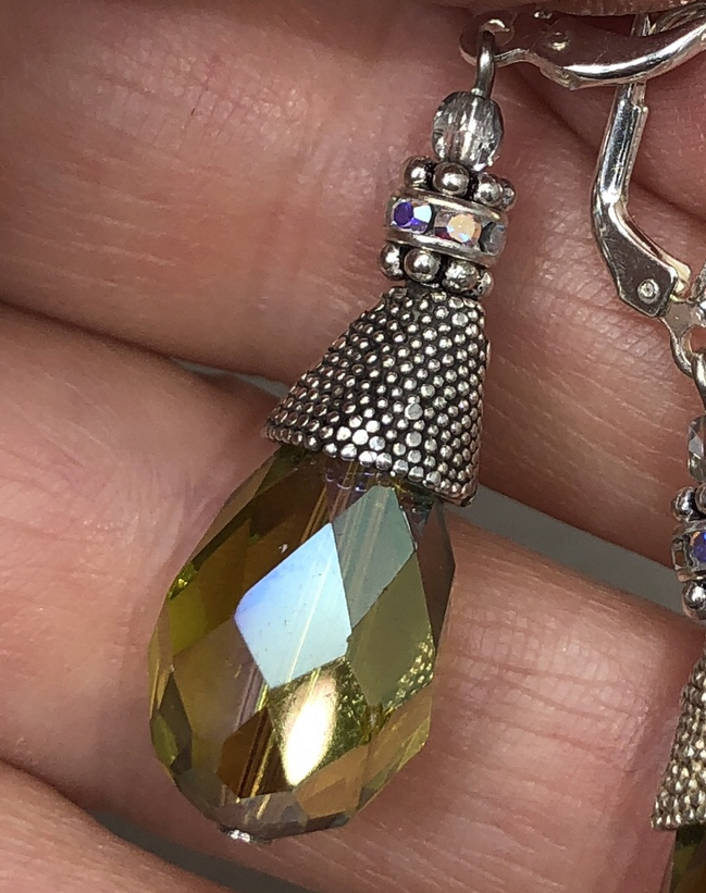 Bali Handmade Silver & Vintage Olivine Swarovski Crystal Earrings-