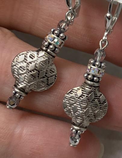 Textured, Fine Silver Dangle Earrings-