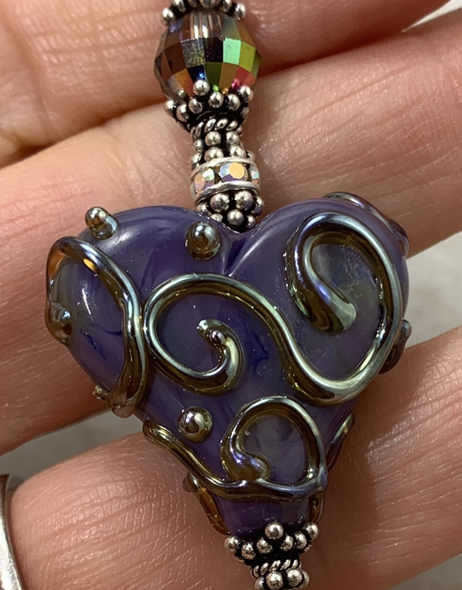 Violet Scrolled Artisan Glass Heart Necklace-