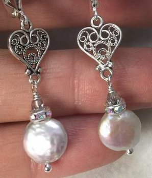 Filigree LOVE Sterling and Pearl Earrings-