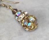 Golden Aurora Borealis Swinger Earrings-