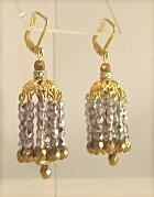 Chandelier Sparklers Fabulous Golden Earrings-vintage, chandelier, gold, crystals, rhinestones, bronze, sparkly