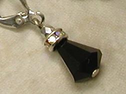 Art Deco Jet Swaroski Crystal Earrings-