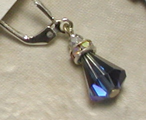Art Deco Vintage Beautiful Blue Swarovski Crystal Earrings-