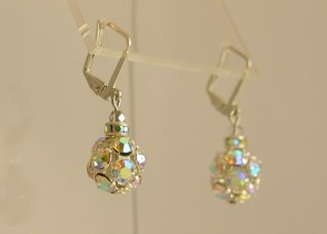 Rhinestone Baubles-aurora borealis, earrings, rhinestones, lightweight