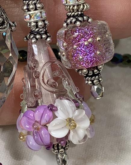 Lavender Floral Sparkle TRIOS Artisan Necklace-