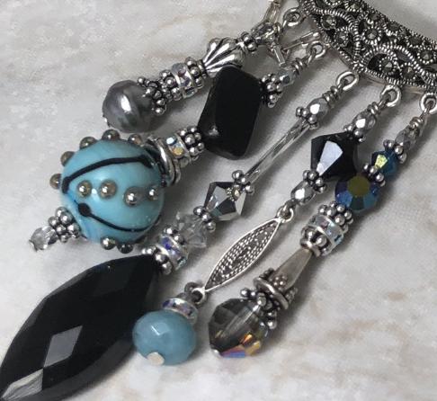 Marcasite Fabulous 5-drop Slider Necklace-