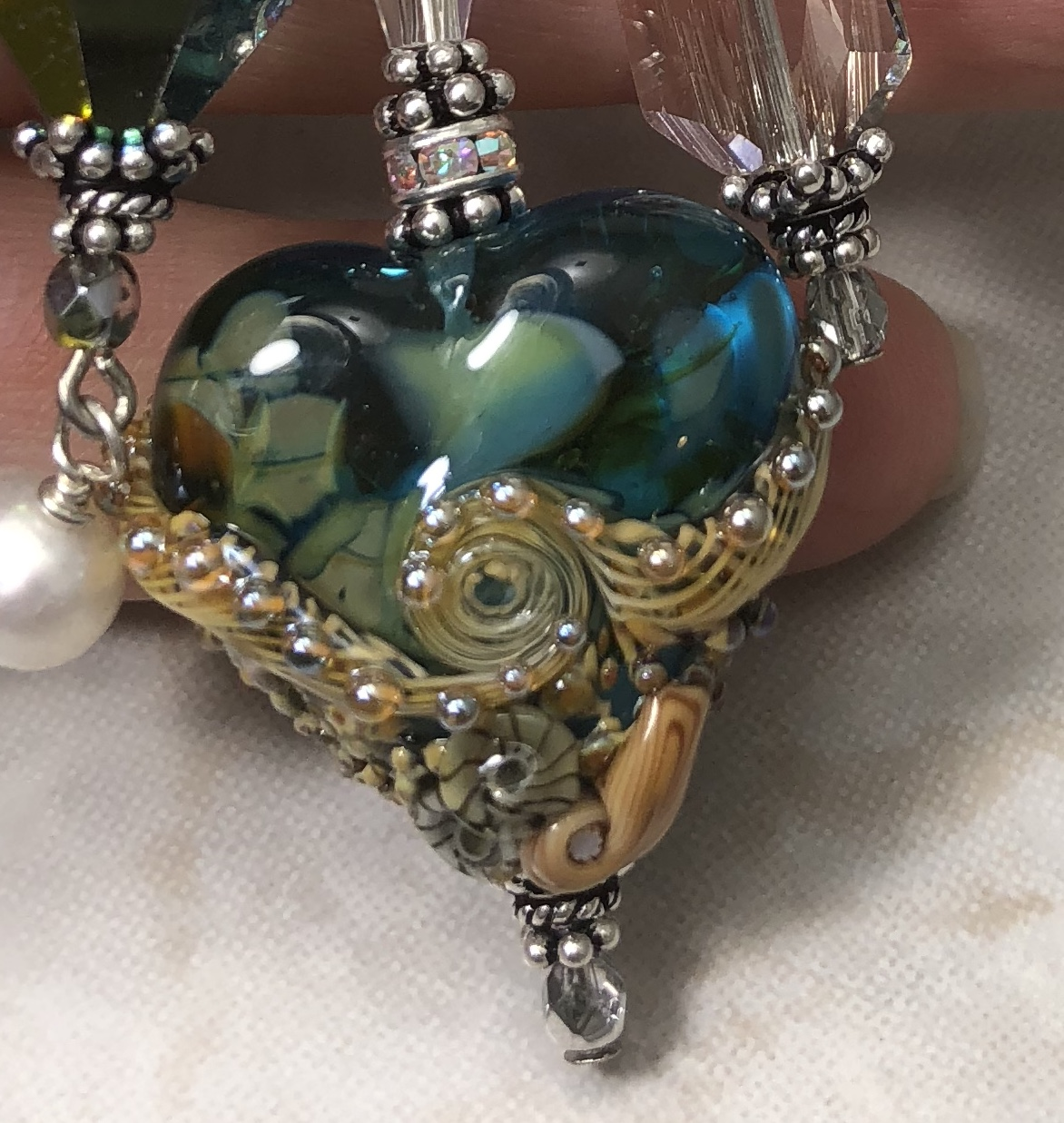 Shimmery Teal Green Beachy LOVE Fab TRIOS Artisan Necklace-