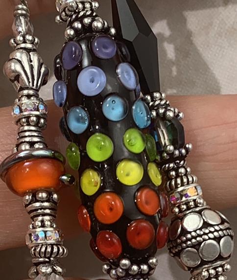 Vivid Rainbow Sparkle TRIOS Art Glass Necklace-