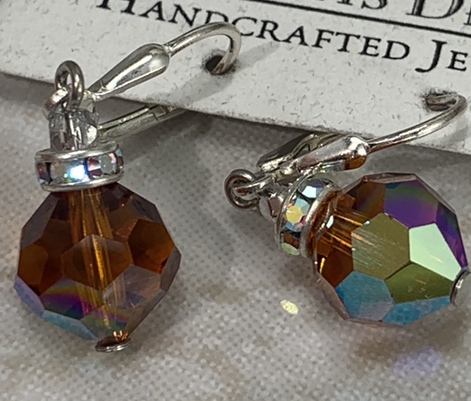 Madeira Topaz Swarovski Vintage Crystal Drop Earrings-