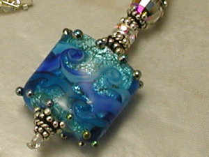 Bright Blue Shimmer Sterling Silver Necklace-Sue Shefts Sue Shefts Designs vintage crystal vintage jewelry artisan lampwork crystal beads Swarovs