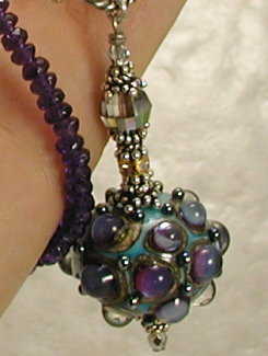 Amazing Turquoise and Purple Dots Artisan Necklace-