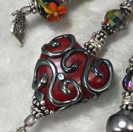 A RED Love TRIOS Artisan Vintage Swarovski Crystal Necklace-