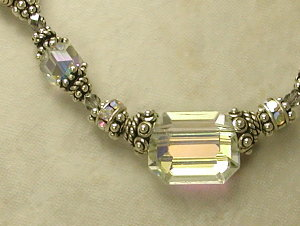 Aurora Borealis Angles Vintage Swarovski Crystal Necklace-
